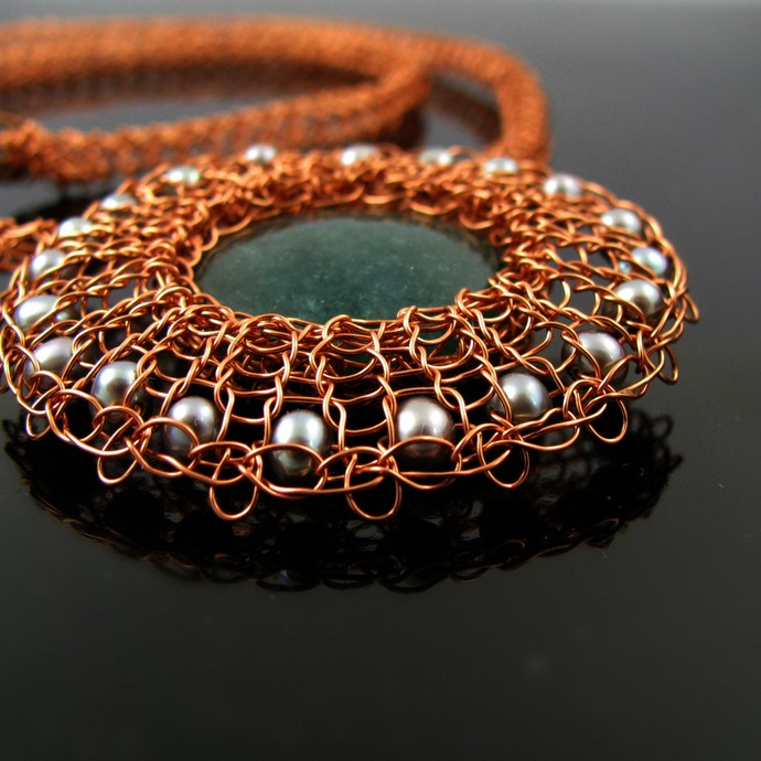 Copper wire knit necklace with green aventurine and silver pearls