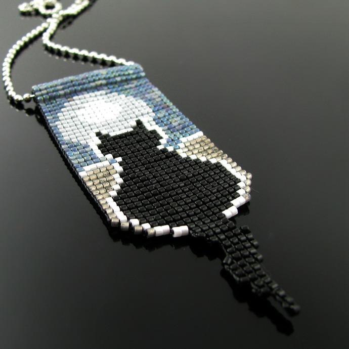 Bead loomed pendant full moon Silhouette Cat - A HeatherCat