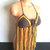 Crochet Brown & Golden Yellow Fringe Halter Top by Vikni Designs