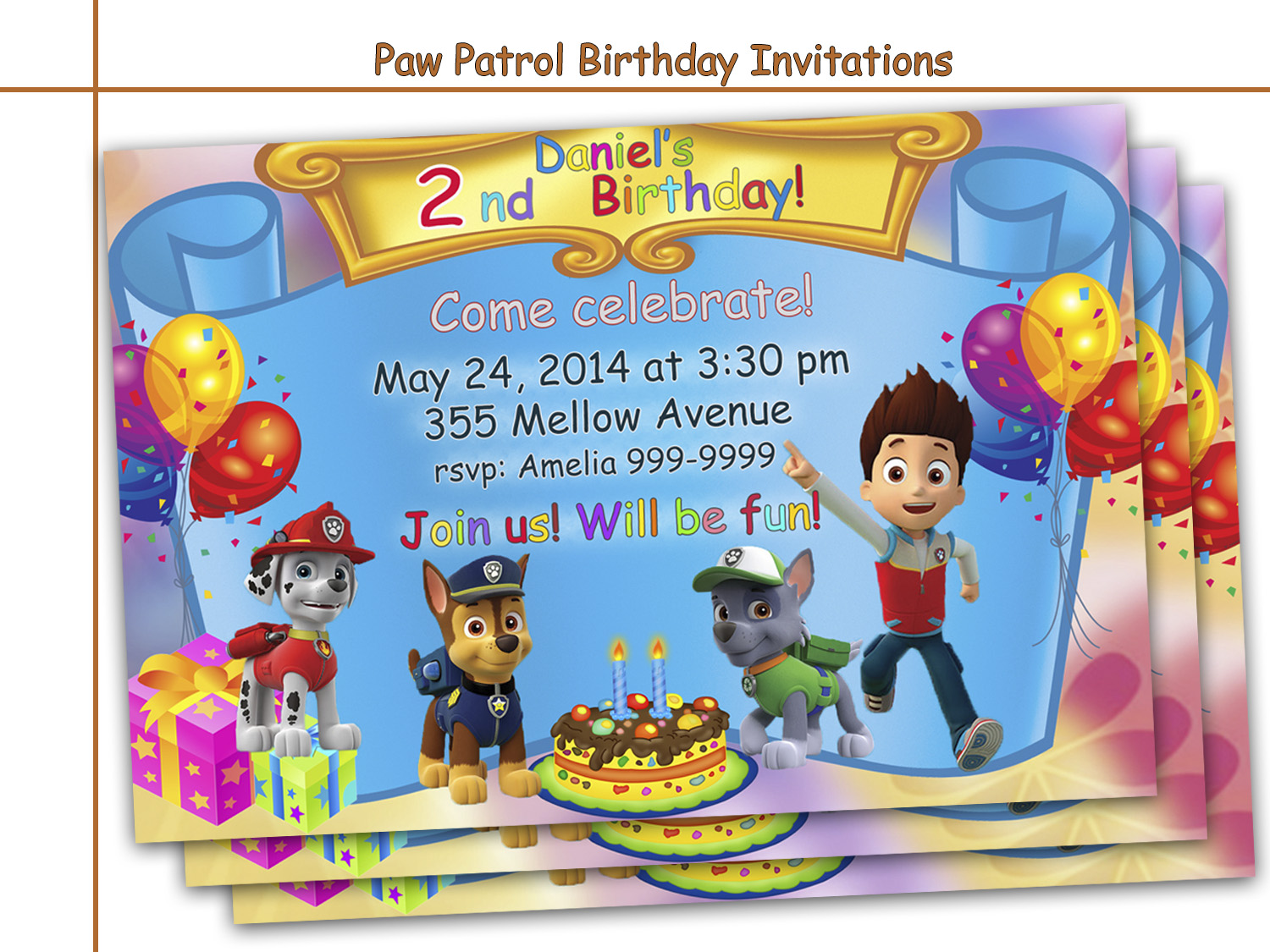 Amazing Paw Patrol Birthday Invitations By Holidaypartystar On Zibbet