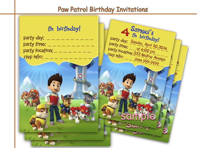 paw patrol printable invitations