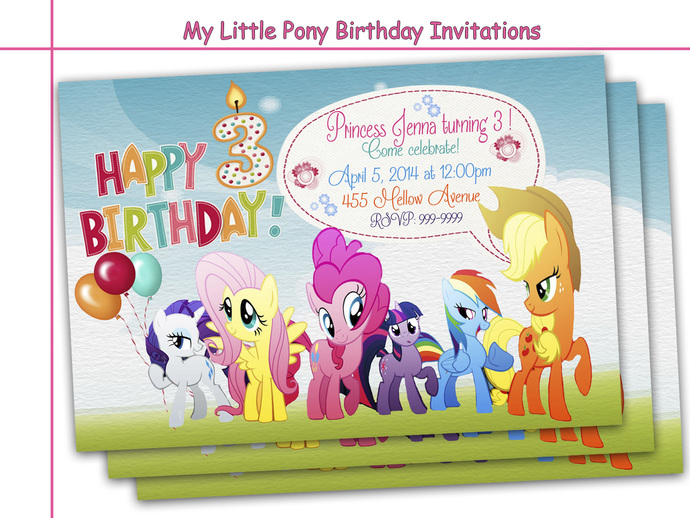 Amazing My Little Pony Birthday Invitations Party Personalized Invite
