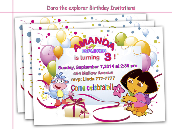Amazing Dora the Explorer Birthday Invitations, party, paper goods, printable