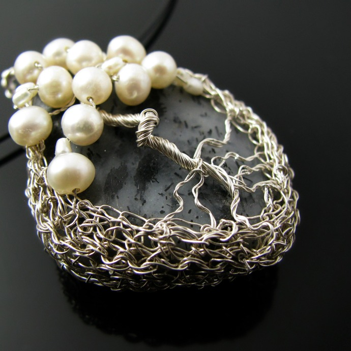 Fine silver wire crochet tree pendant with pearls and tourmalinated quartz