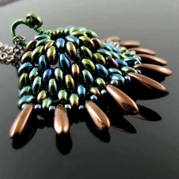 Beaded dragon scale pendant - Green Rainbow Spike