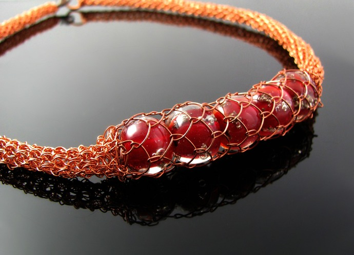 Wire crochet rope necklace with netted red lampwork - Copper cage