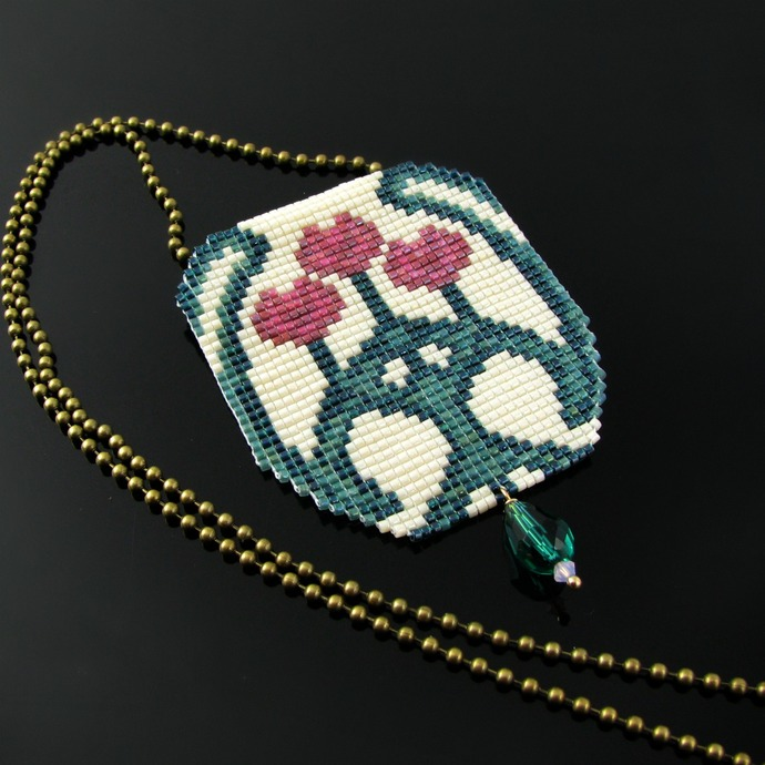 Bead loomed Art Nouveau flower vase pendant with crystal drop