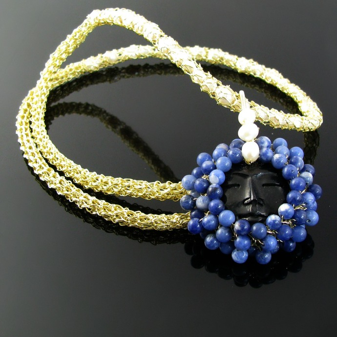 Golden wire knit and crochet flower goddess necklace with pearls