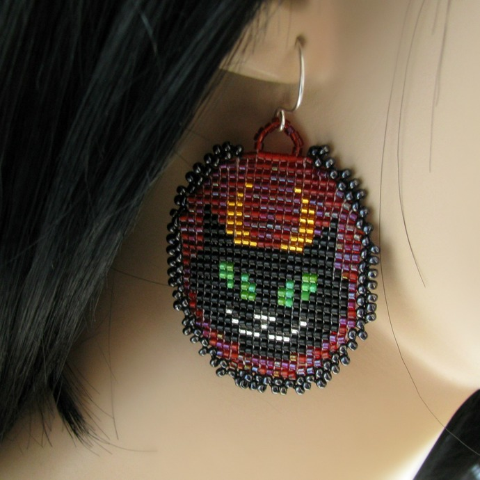 Bead loomed white angel and black devil cat earrings