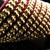 Burgundy satin ribbon and golden bead loomed cuff