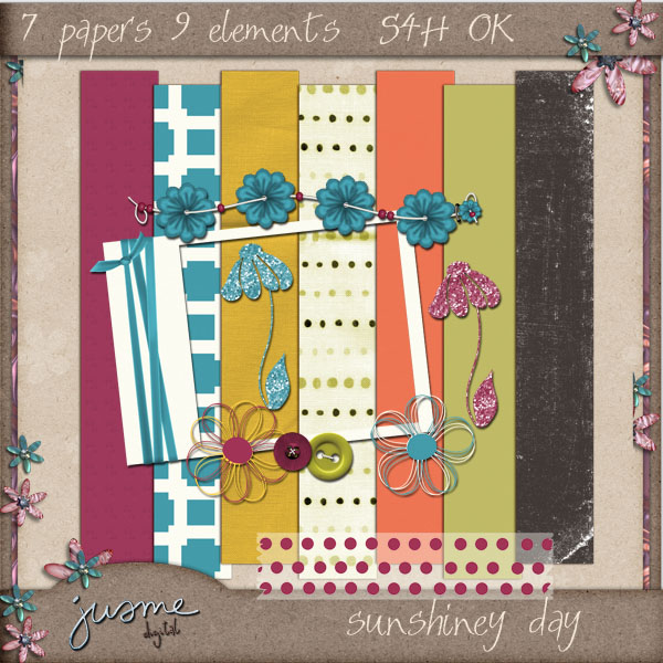 sunshiney day digital scrapbooking mini kit