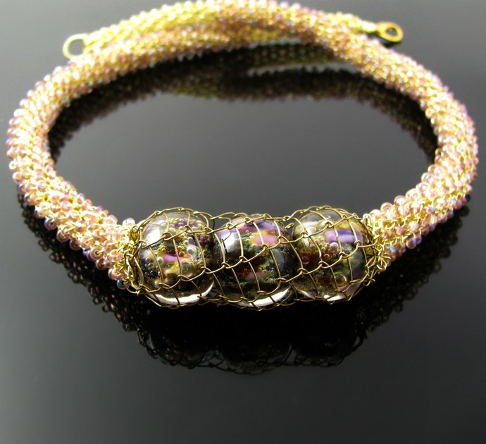 Wire crochet and netted necklace with lampwork - Purple spring