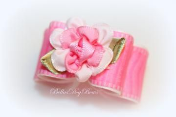 7/8-L Pink and White Dog Show Bow with Matching Flower Embellishment
