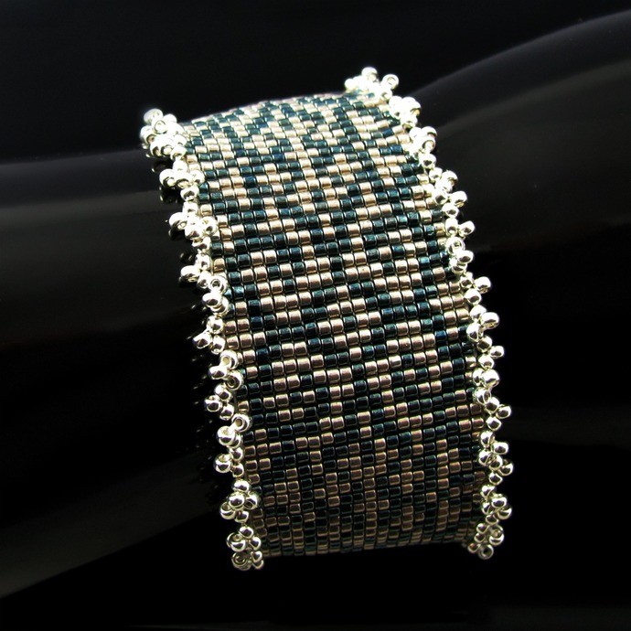 Vintage inspired pattern blue and pewter bead loomed woven bracelet cuff