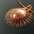 Wire knit pendant with red jasper and quartz cabochon
