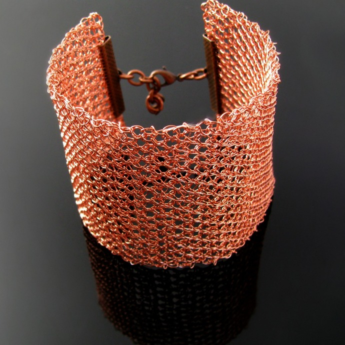 Wide warm gold copper tone wire knit cuff