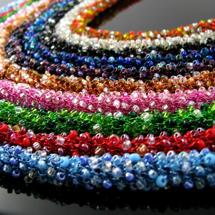 Colorful wire crochet rope necklace with seed beads - The Rainbow Fairies