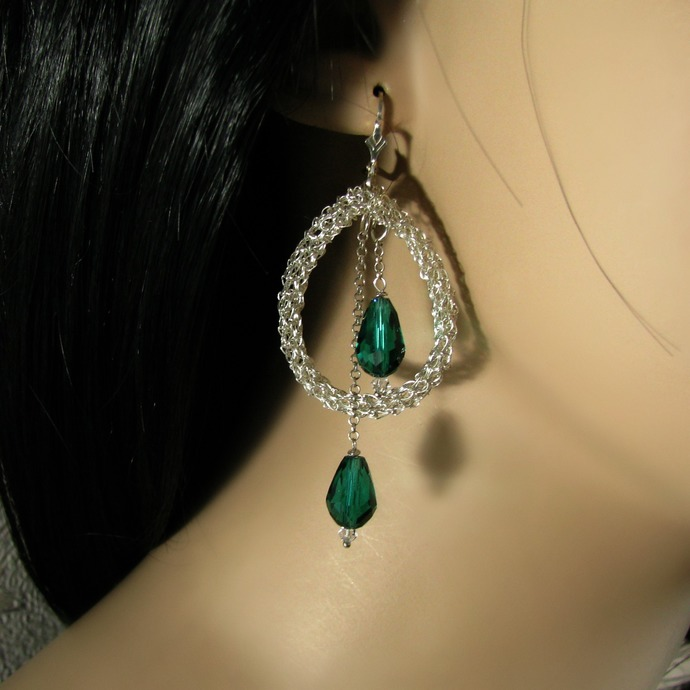 Silver wire crochet drop earrings with dangling green crystal drops