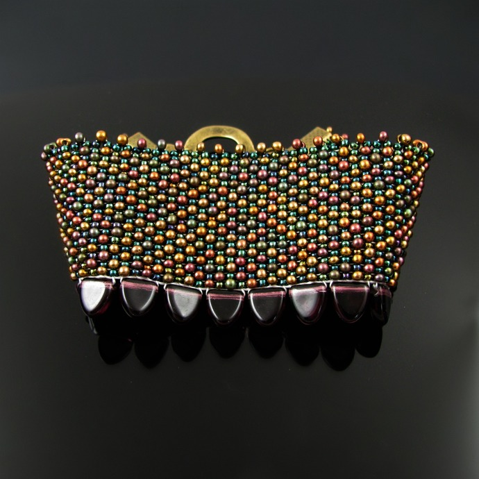 Bead loomed metallic peanut and seed beads cuff with scales - Dragon skin