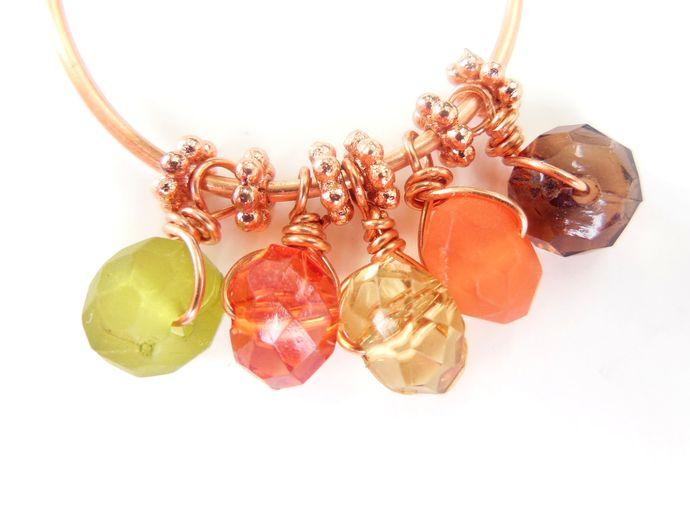 Handformed Beaded Copper Hoop Earrings - Hypoallergenic Option