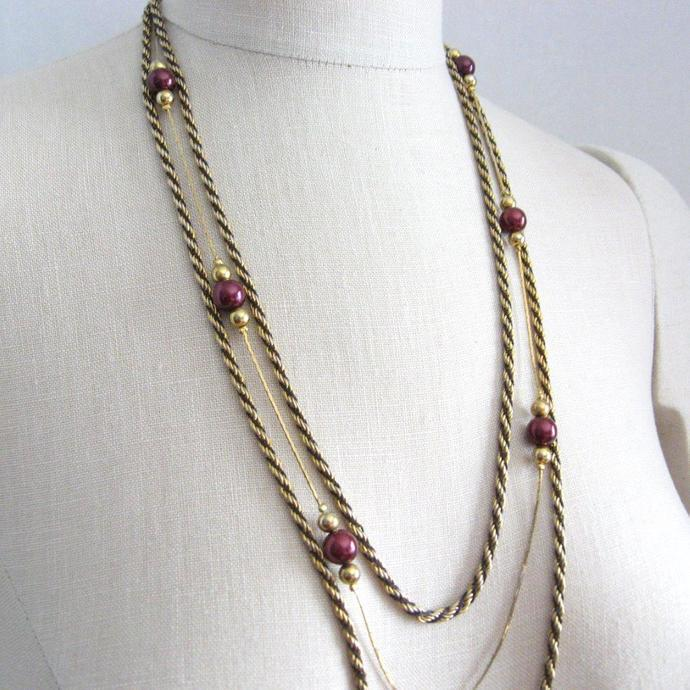 Long Multi Chain Gold Tone Necklace with Maroon Faux Pearl Stations, Rope Chain,