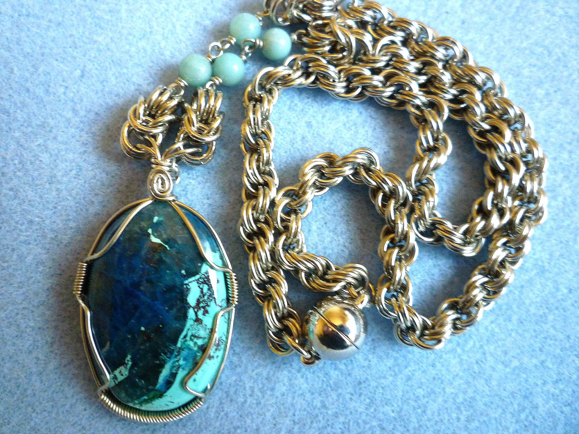 Wire wrapped azurite pendant by eileens jewelry boutique on zibbet mozeypictures Images