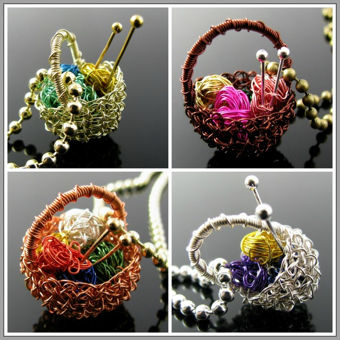 Colored wire crochet basket pendant with yarn balls - Made to order