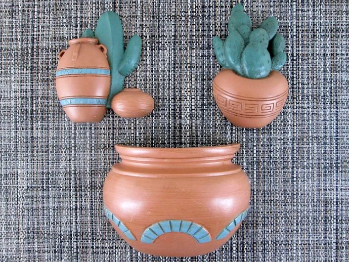 1991 Burwood Southwest Cactus Wall Decor Set 3139
