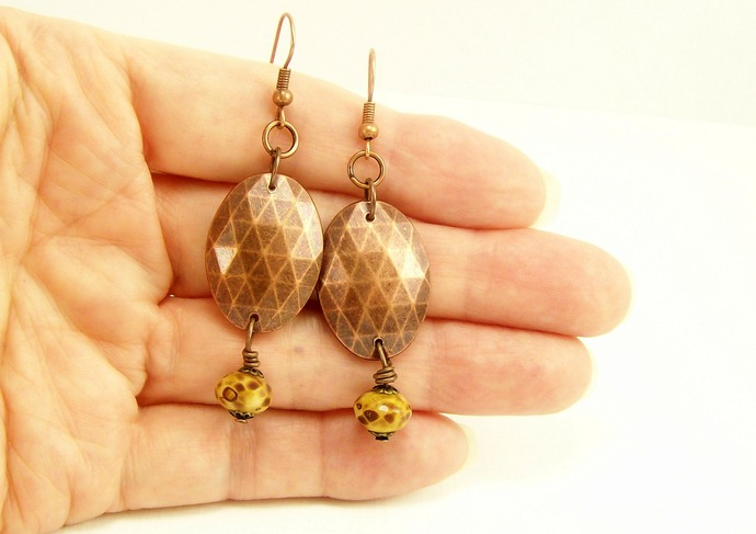 Copper & Czech Picasso Earrings, Rustic Bohemian Earrings, Handmade