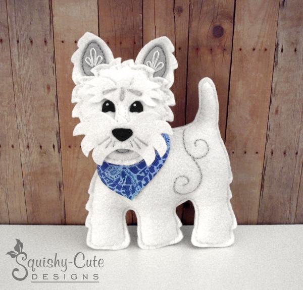 Westie Dog Sewing Pattern PDF - West | SquishyCuteDesigns
