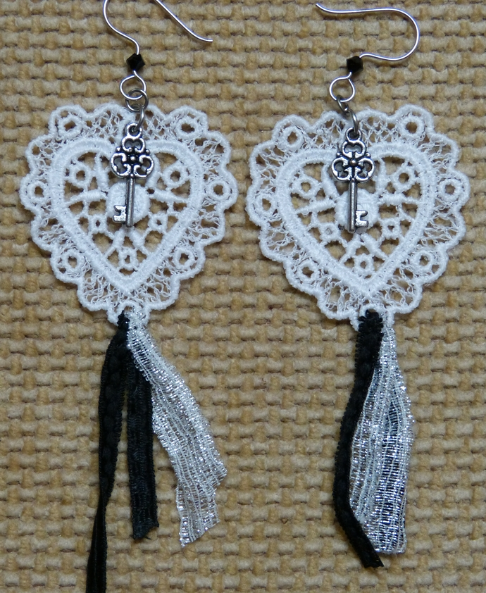 Lace Heart Earrings with Key Charms