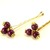 Beaded Hair Pins, Plum Stones Gold Pewter Casual Work Rustic Bridal