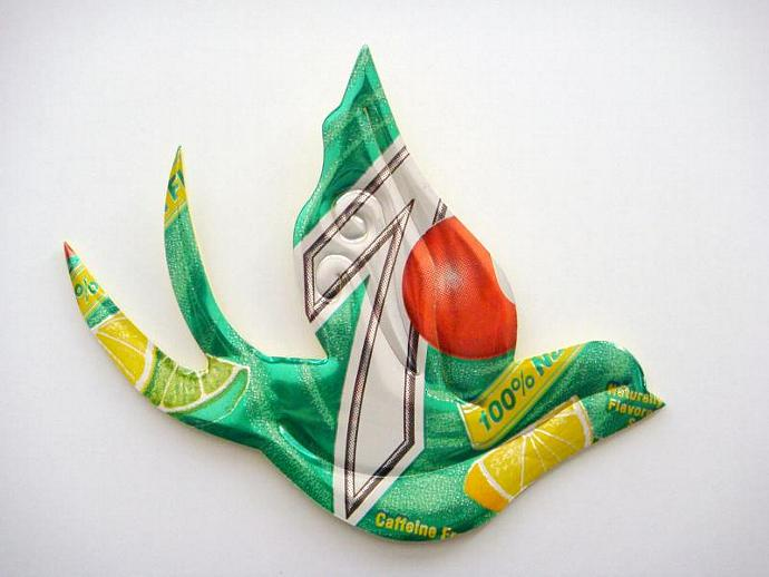 7up Soda Can Sparrow Brooch