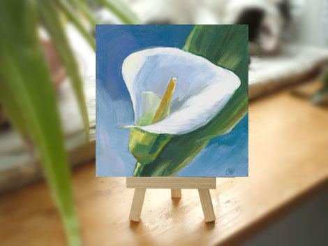 Calla Lily Original Painting 5x5 Inch White Mini Floral Painting