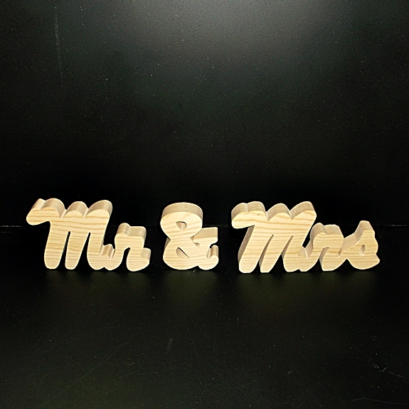 Mr & Mrs Wedding Reception Stand Alone Wood Letters Unfinished Style 3 Stk No.