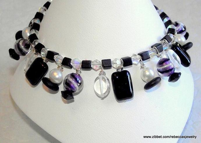 Purple Swirl Bracelet ~ Black Czech Glass, Fresh Water Pearls, Glass Beads,