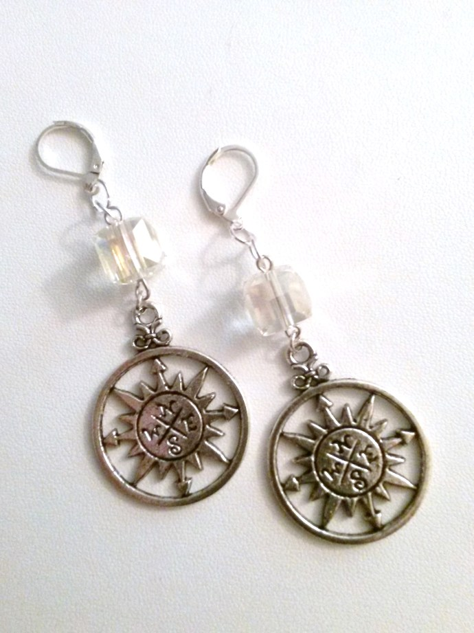 Silver Compass Crystal Cube Earrings - Steampunk Elegance