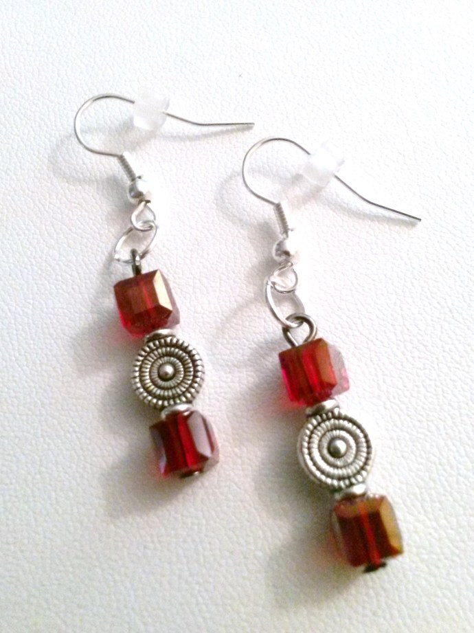 Crimson Crystal Cube Dangling Earrings with Spiral Silver Accents