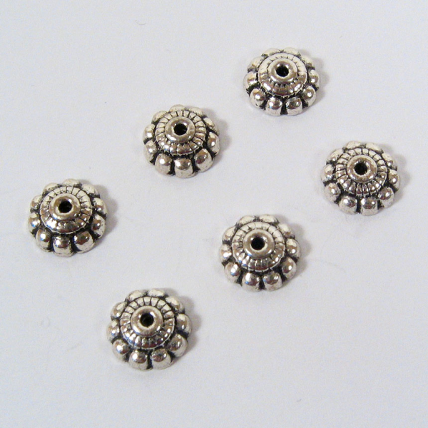 8 mm Triple Layer Bead Caps - Sterling Silver