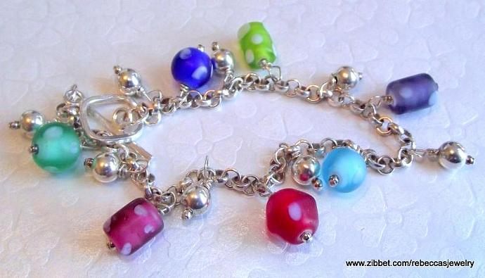 Polka Dot Fun Sterling Silver Rolo Chain with glass bead charms