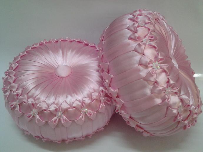 Wedding pillow Round cushion Home decorative Handmade pillow Round pillow