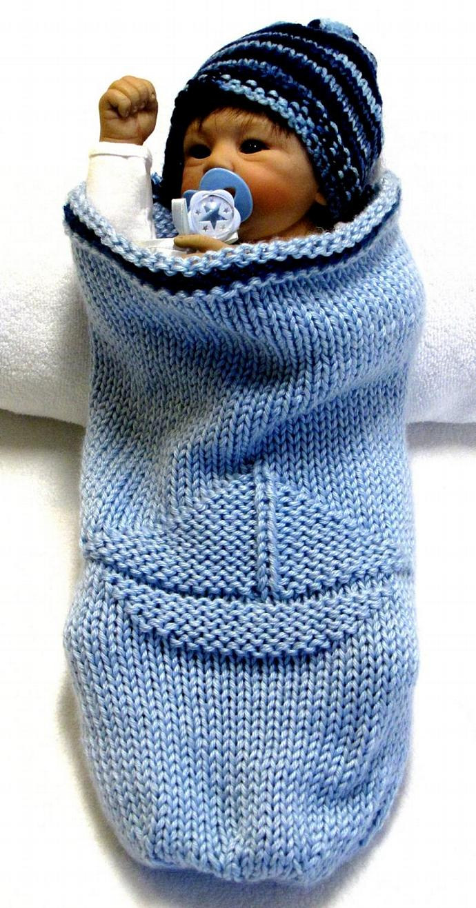 Knitting Pattern, Baby Cocoon with SAILBOAT | ezcareknits