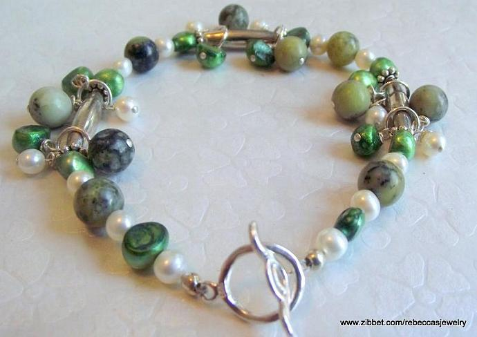 Earthy Beauty Bracelet of Zoisite Gemstone & Sterling Silver