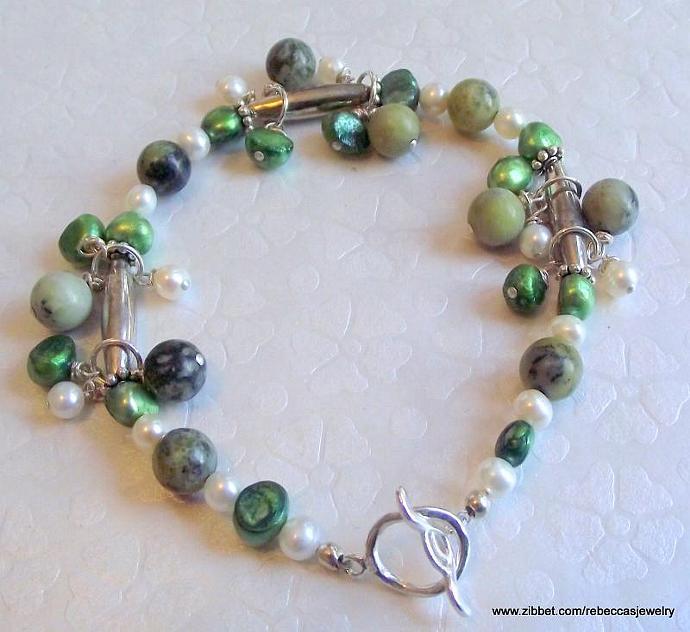 Earthy Beauty Bracelet of Zoisite Gemstone & Sterling Silver