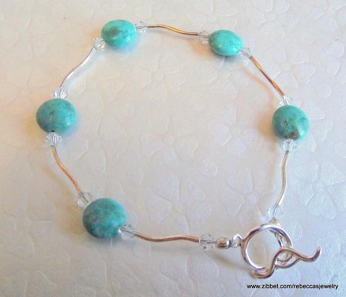 Turquoise Coins, Swarovski Crystals,  & Sterling Silver Bracelet