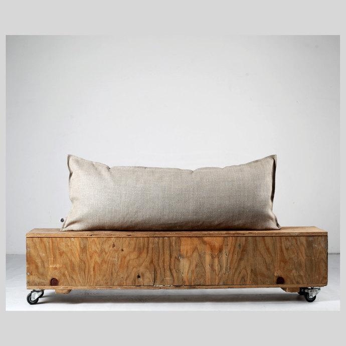 Lumbar pillow cover-gray natural linen fabric - eco friendly pillows throw-size