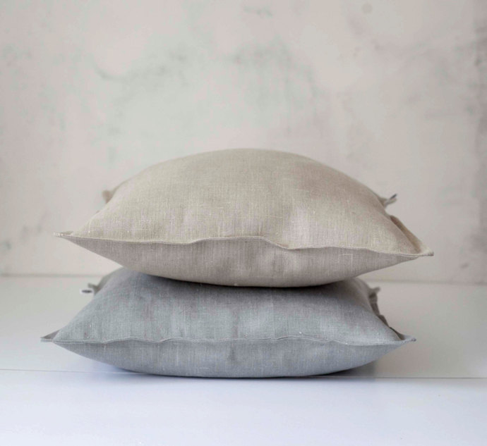 Set of 2 decorative pillow covers -  grey and natural 14x14 inch size -