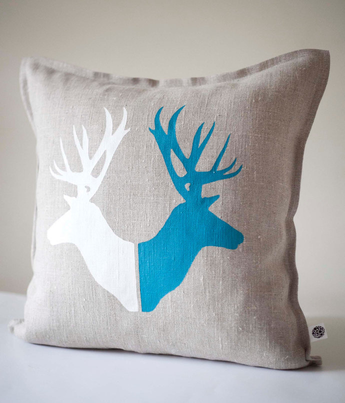 Deer print pillow cover - pillow case housewarming or birthday gift cushion -