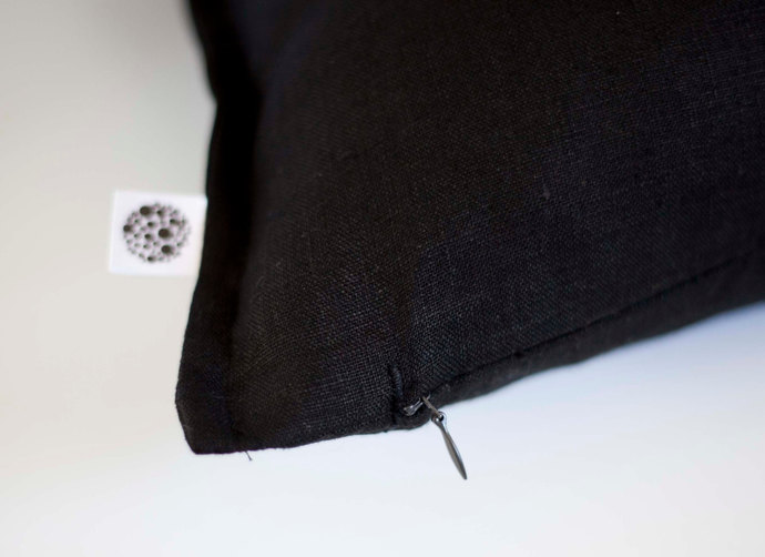 Black linen pillow cover - classic style decorative pillows case -  linen  throw
