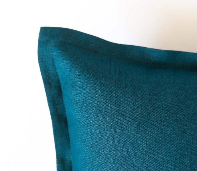 Teal blue pillow cover from linen - custom size with 1 inch flange - invisible